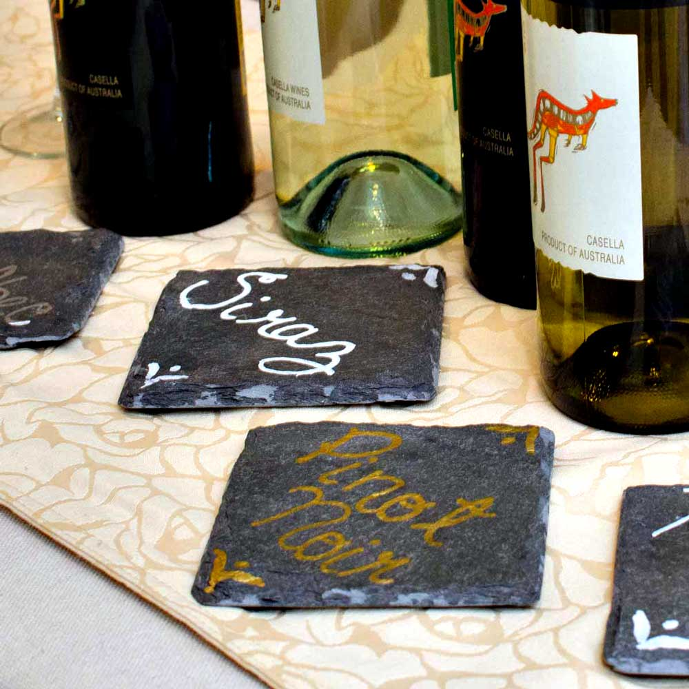 Set of slate drink coasters for home bars and offices - Slate drink coasters ...