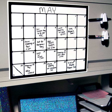 Cohas Chalkboard and Marker Systems Small Monthly Magnetic Backed Whiteboard Calendar with One Black Marker SKU IA-ZB-WB-MAG-CAL-SML-010 UPC 719926444514