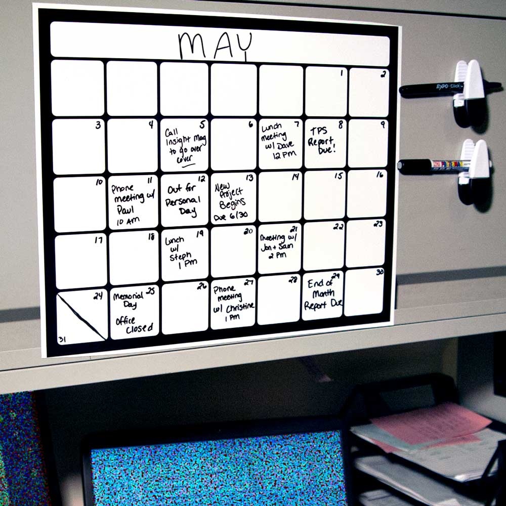 Monthly Magnetic Backed Whiteboard Calendars For Home And Office