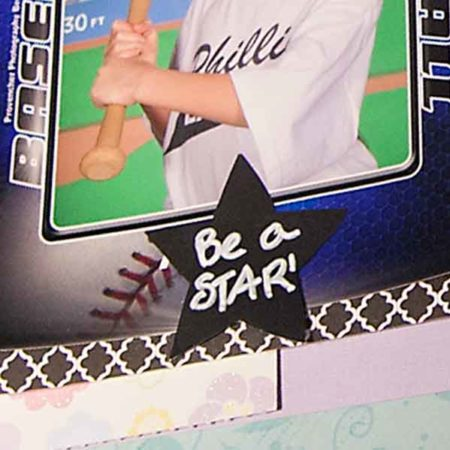 """Star Labels fit Various Household Jars and Containers shows star labels on scrapbooking pages with """"Be a Star!"""" written out on the label."""