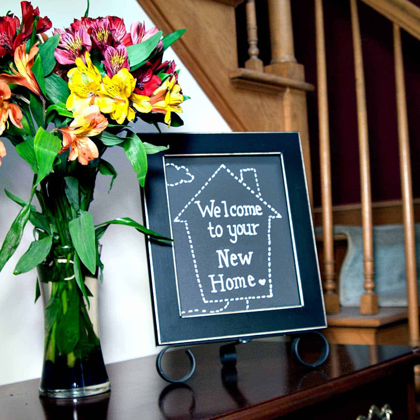 "8x10 easy to change tabletop display sign with ""Welcome to your New Home"" insert made with chalkmarker"