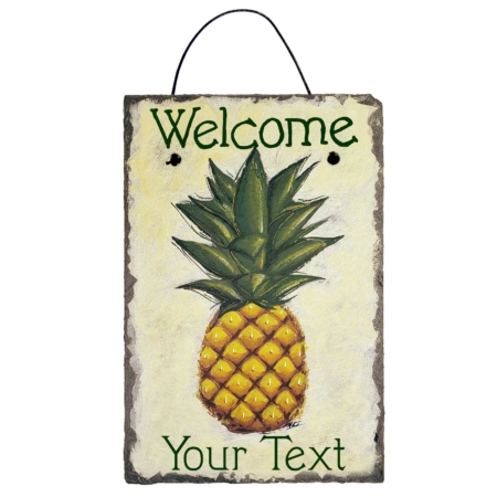 """This Personalized Welcome Pineapple Slate Sign comes in three design types and many different customization options. This Welcome Pineapple has an off-white background with a realistic stylized pineapple, green font displaying """"Welcome"""" at the top and """"Your Text"""" at the bottom."""