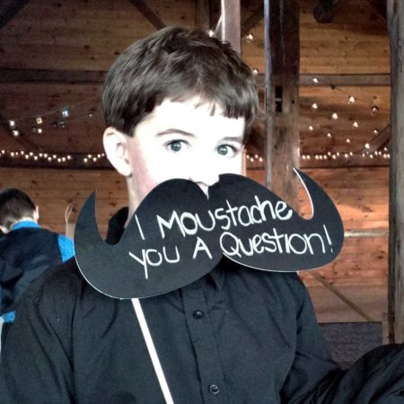 Cohas Chalkboard Mustage photo booth prop for weddings and events