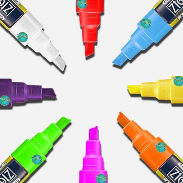 Zig Posterman 6mm Ilmuigraph Wet Wipe Markers in 8 colors