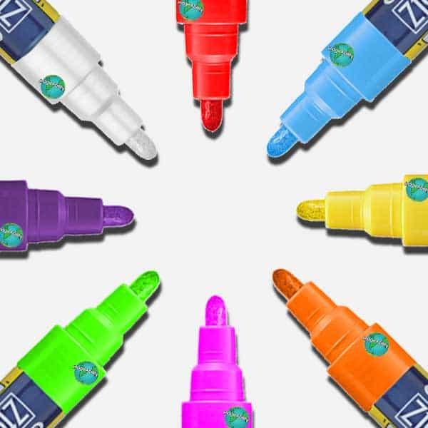 Zig Posterman 2mm Ilmuigraph Wet Wipe Markers in 8 colors
