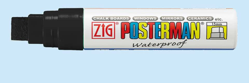 Zig Posterman Black Waterproof Big and Broad 15mm Tip Marker SKU PMA-120-010 UPC 847340001621