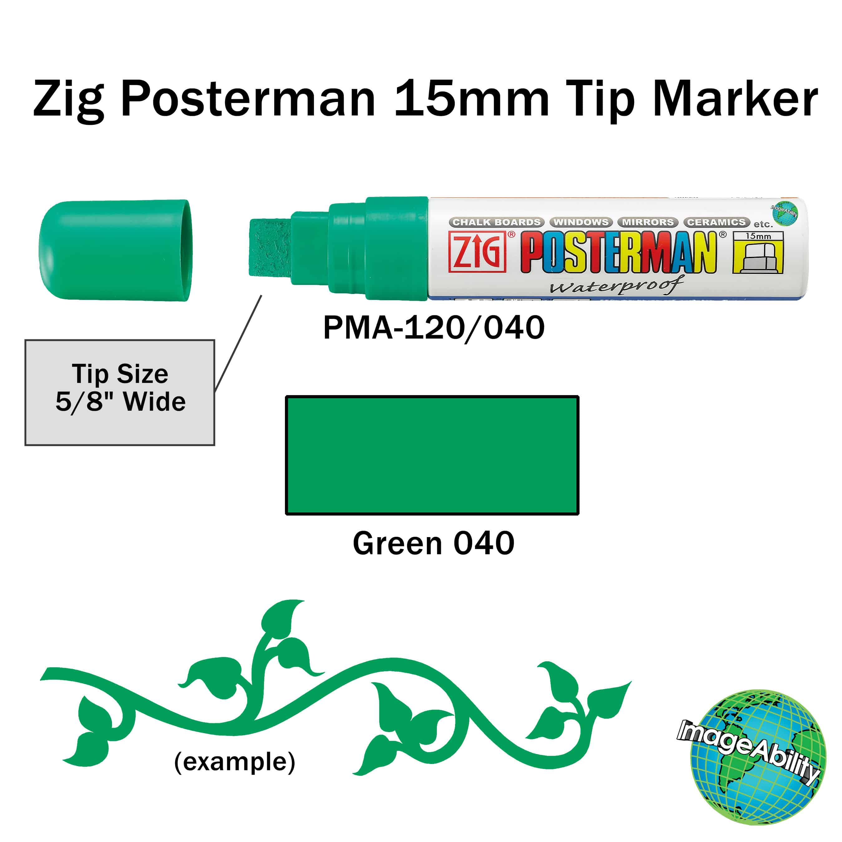 15mm tip Big /& Broad - GREEN Zig Posterman Chalkboard Pens