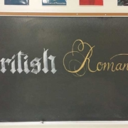 British Romanticism Calligraphy Lettering on Teacher Chalkboard in Classroom with Zig Posterman BIGGIE Markers
