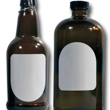 Cohas Chalkboard and Marker Systems Arch Matte White Labels fit Beer Growler and Essential Oil Containers shown in use on 16 oz and 32 oz glass bottles
