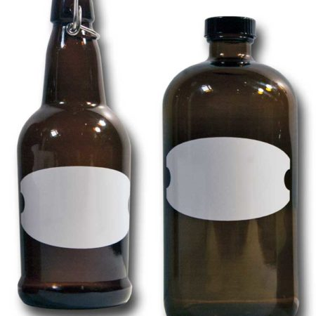 Cohas Chalkboard and Marker Systems Buckle Matte White Labels fit Beer Growler and Essential Oil Containers shown in use on 16 oz and 32 oz glass bottles