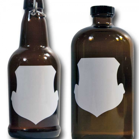 Cohas Chalkboard and Marker Systems Crest Matte White Labels fit Beer Growler and Essential Oil Containers shown in use on 16 oz and 32 oz glass bottles