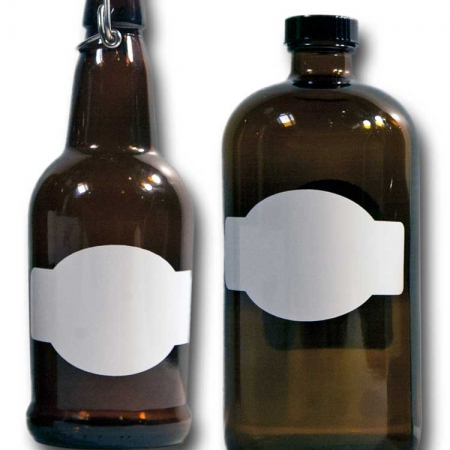 Cohas Chalkboard and Marker Systems Horizontal Banner Matte White Labels fit Beer Growler and Essential Oil Containers shown in use on 16 oz and 32 oz glass bottles