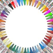 All 54 colors of the Zig Posterman, Acrylista, and Woodcraft markers available in the 6mm chisel tip, arranged in a circle.