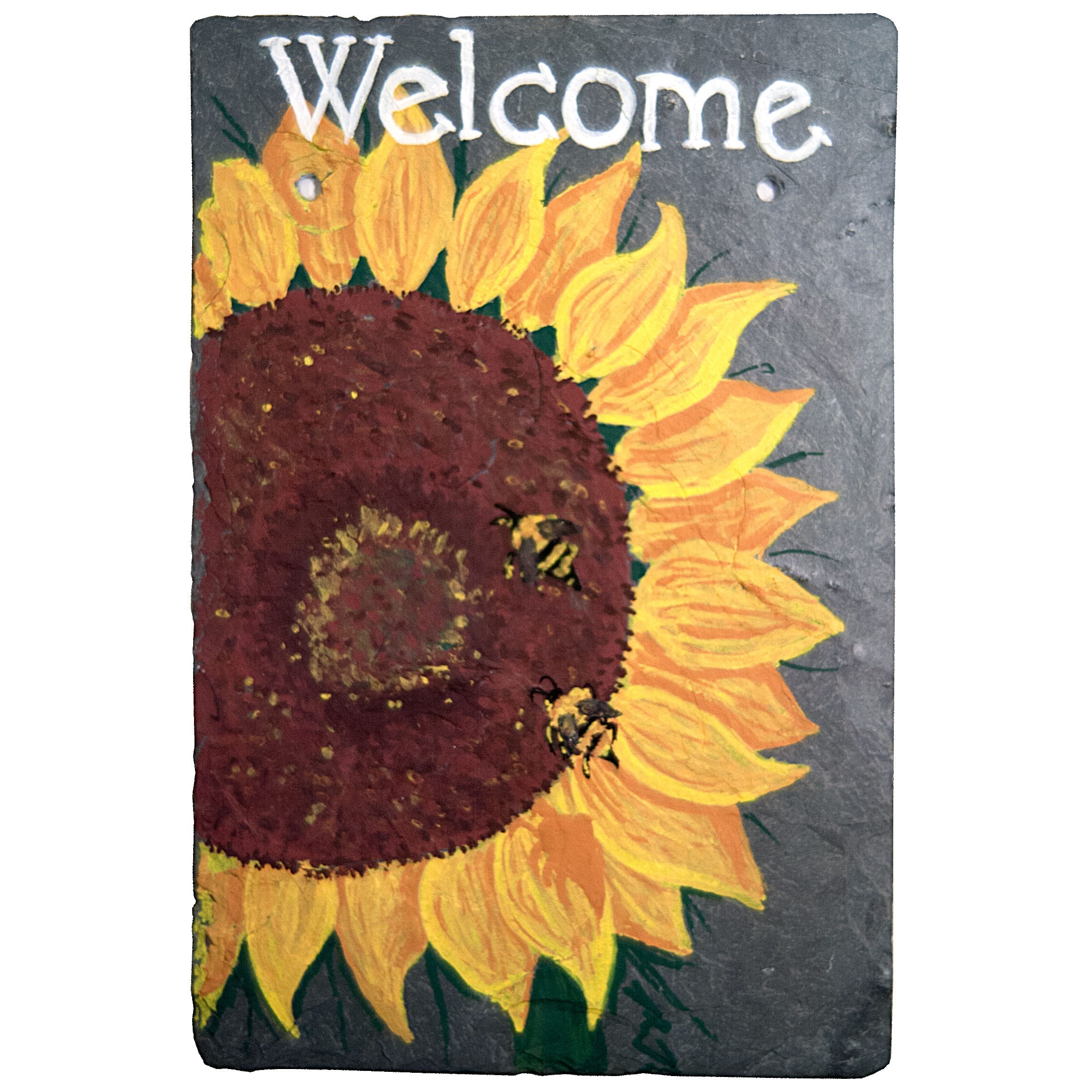 Personalized Sunflower And Bees Welcome Slate Sign