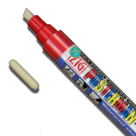 Color Collection Zig Posterman Waterproof 6mm Tip Red Marker with 2mm Tip features Red 6mm Marker with an extra 2mm bullet tip