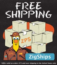 Free shipping on all orders over $75 to the United States Only. Use coupon code ZigShips