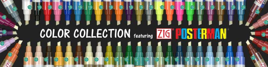 Cohas Color Collection Markers featuring Zig Posterman markers shows image of 54 colors of markers in oval around text Color Collection featuring Zig Posterman logo