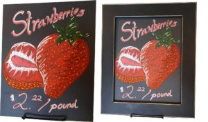 Strawberries drawn on Choas Eco Boards