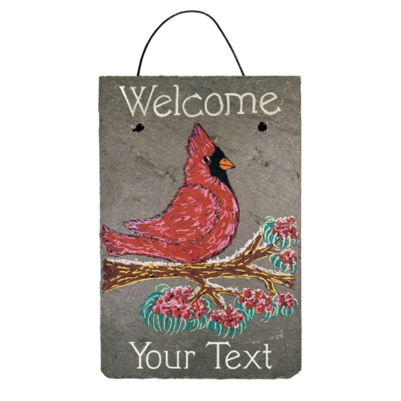 """Personalized Winter Cardinal Welcome Slate Sign features a red cardinal perched on a winter branch, with """"Welcome"""" and """"Your Text"""" written out in white font."""